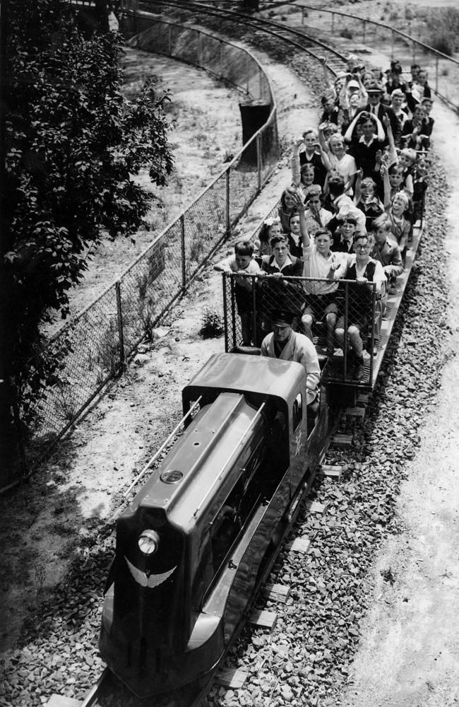 1945: Children on the Spirit of Progress train at the Melbourne Zoo. Picture: Herald Sun