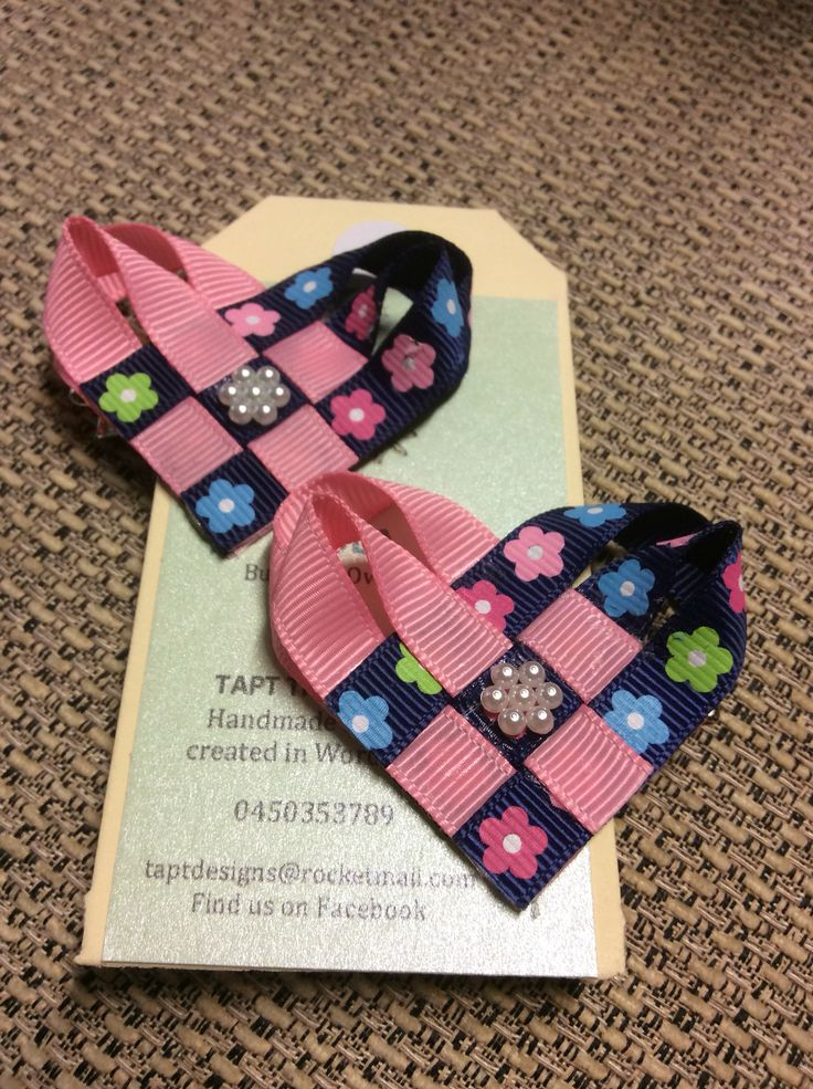 Navy blue flowers and pink hair bows
