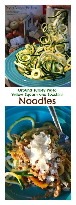 Ground Turkey Pesto Yellow Squash and Zucchini Noodles   ReluctantEntertainer #spiralizer