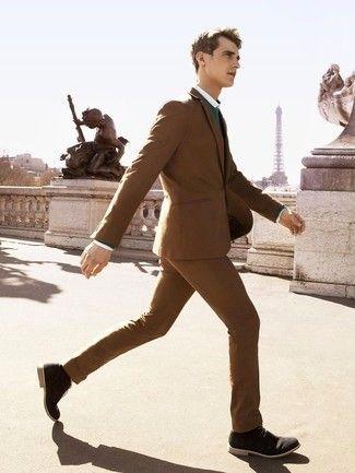 Cómo combinar un traje marrón oscuro en 2016 (50 | Moda para Hombres