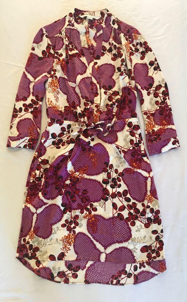 ~ DIANE VON FURSTENBERG VIOLET FLORAL LONG SLEEVE TUNIC DRESS (LOVE THIS!) ~ 0 #DianevonFurstenberg #TunicDress