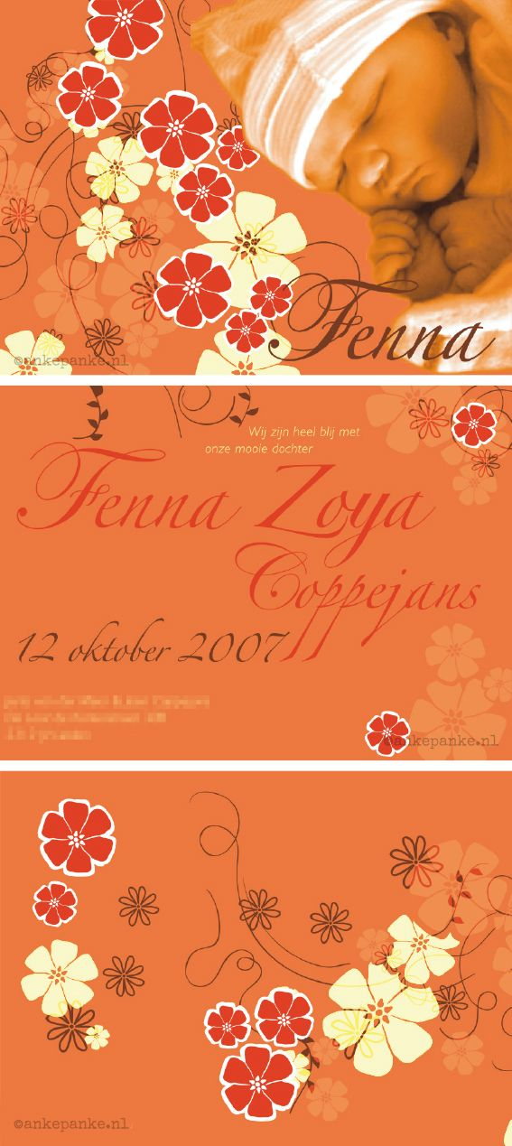 Orange flowers birth announcement for Jerta & Joeri by http://ankepanke.nl