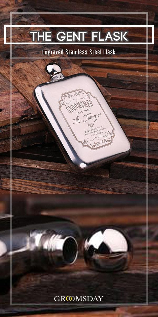 The Gent Flask - a unique, one of a kind, stainless steel whiskey flask. This personalized etched flask is a certain hit and comes enclosed in an engraved wood gift box. It is a perfect groomsmen gift or gift for men for anniversary, birthday, or graduation.Share & repin!  Only from Groomsday | Groomsday.com #flask #groom #groomsmen #groomsmengifts #giftsformen #giftideas #mensaccessories #personalizedgifts