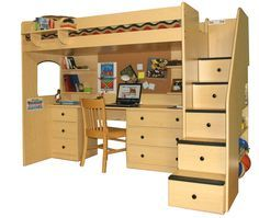 A Collection Of Cool Teenage Bunk Bed Ideas : Traditional Wooden Shared Teen Bunk Bed Design with Storage Staircase and Study Space Undernea...