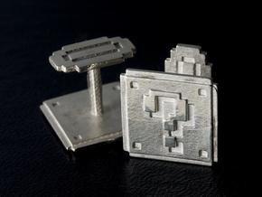 Question block cufflinks in Polished Silver