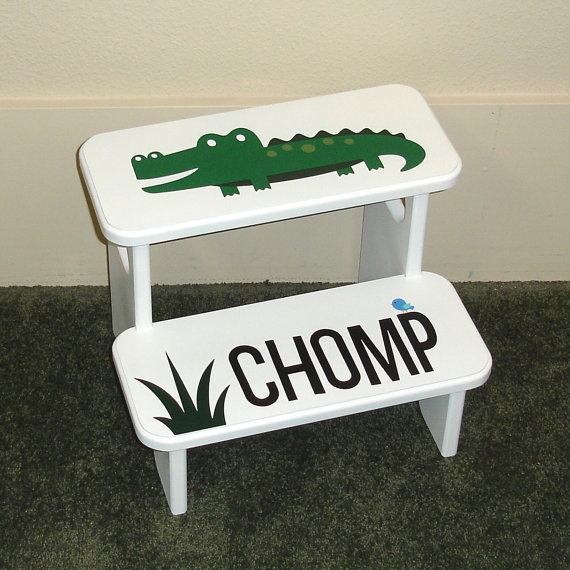 So cute!!  Alligator Step Stool Watch Those Toes Al by GreatCustomFurniture, $55.00