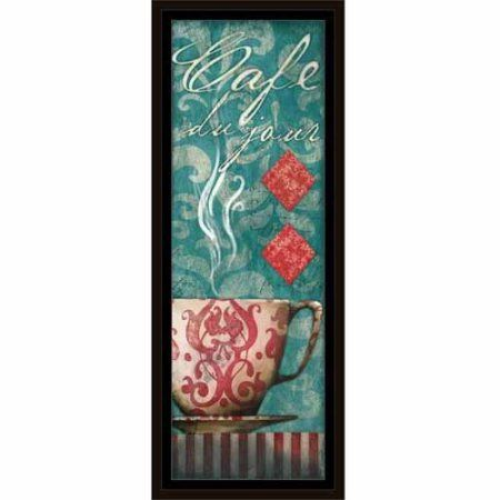 Café Du Jour Coffee Cup Stripes, Damask, Diamond Kitchen Painting Blue, Framed Canvas Art by Pied Piper Creative, Brown