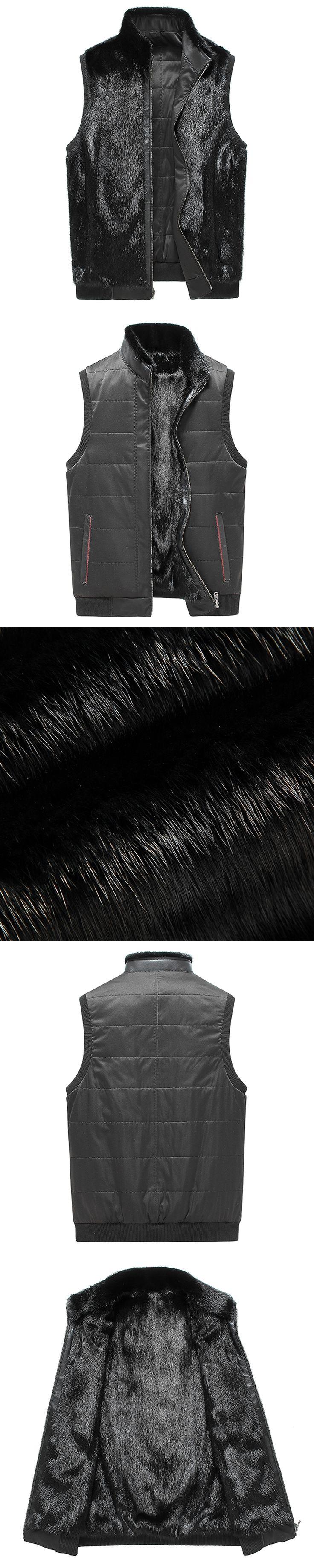 Black Leather Vest Men Shearling Sheepskin Coat Fashion Short Motorcycle Outerwear Genuine Leather Vest