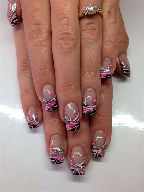 Nail Art Gallery - Zebra over gel... think i like this without the pink gem thing.