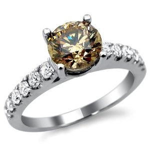 Brown Champagne Round Diamond Engagement Ring