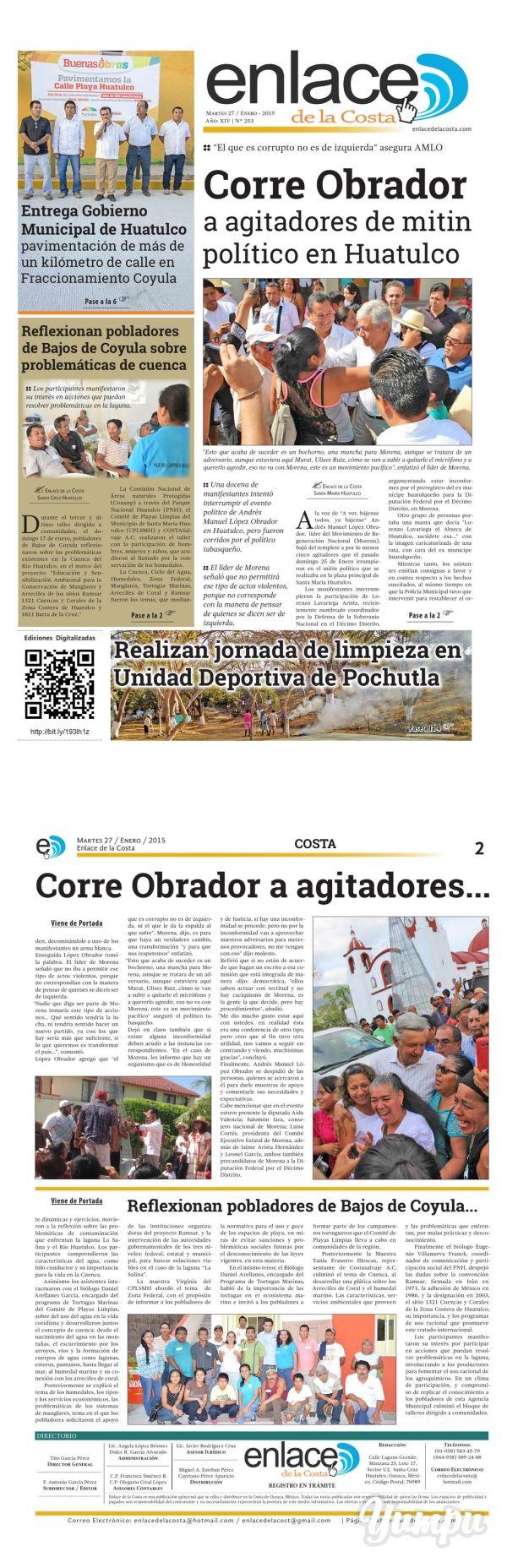 Edición 253; Enlace de la Costa - Magazine with 12 pages: Edición número 253 del periódico Enlace de la Costa, editado y distribuido en la Costa de Oaxaca, con información de la región.