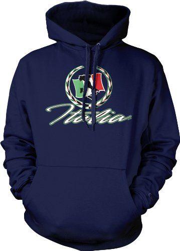 Italia Flag Mens Sweatshirt Italian Pride Italy Hoodie X-Large Navy