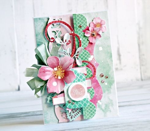 This card was designed by Anna Zaprzelska for Kaisercraft. It was created using the Cherry Blossom collection.