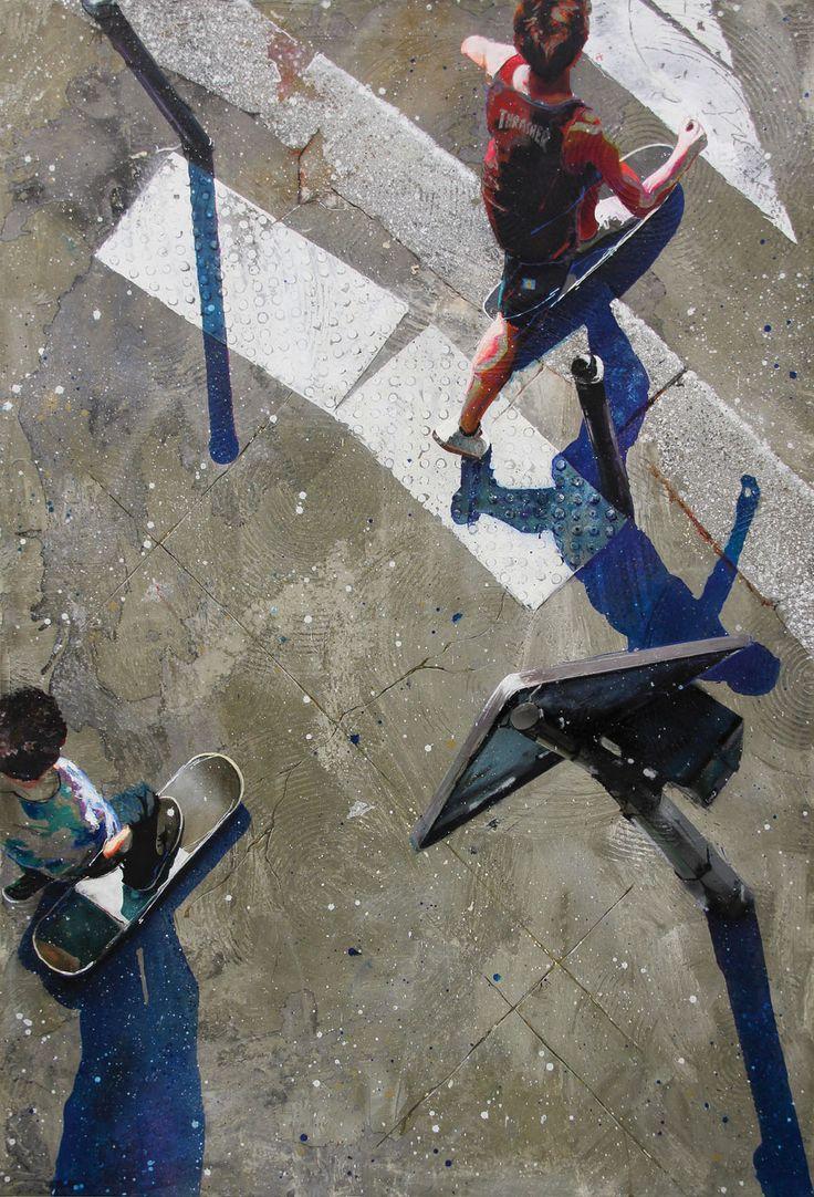 """""""Ride"""", Acrylique, résine et ciment sur toile, 130 x 89 cm"""