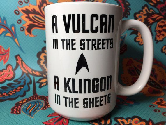 Vulcan in the streets Klingon in the sheets Star Trek coffee mug