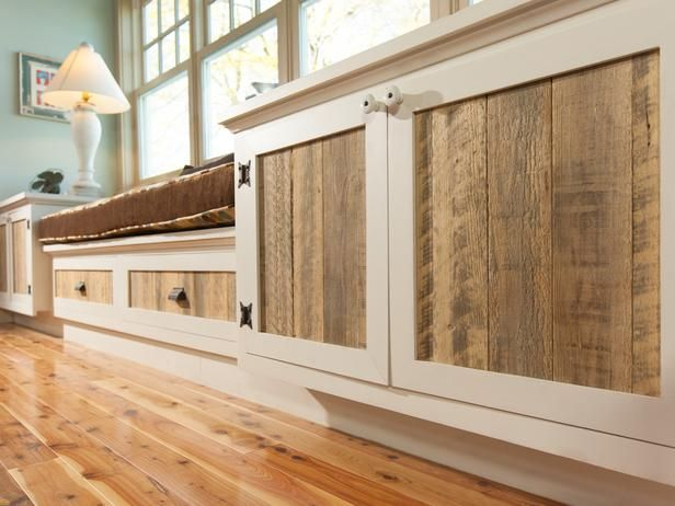 "More pallet patio, gardening, DIY furniture ideas and inspiration at http://pinterest.com/wineinajug/passion-for-pallets/ A 12-foot-long pallet provided wood for cabinet fronts; hinges and knobs were sourced from the home's old kitchen cabinetry. ""This is all pallet wood that someone would normally throw away,"" says Victoria. ""We sanded it down and applied a clear matte coat of urethane."""