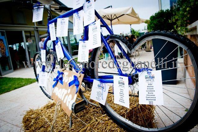 Seat table on a blue bike Tableau sulle ruote a cuore della bicicletta blu