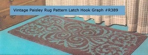 Vintage Paisley Latch Hook Rug Pattern