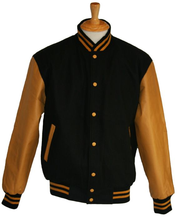 Black wool with Gold leather sleeves - in stock and available for immediate delivery through our Facebook store  https://www.facebook.com/TeamVarsityJackets