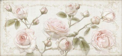 XL Rosen Bild Gemälde creme weiß rosa Shabby Chic Landhaus Thomas Rolly Kunst