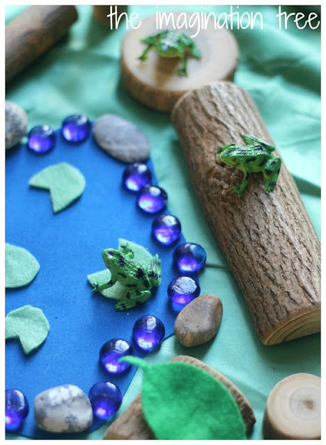 5 speckled frogs small world play scene. For singing, counting, reading and music making!