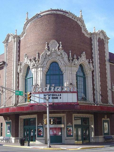 Indiana Theater- Terre Haute IN, USA. The Indiana Theatre, designed and built by John Eberson in 1922, is Spanish Baroque in style and seats approximately 1,600 people.