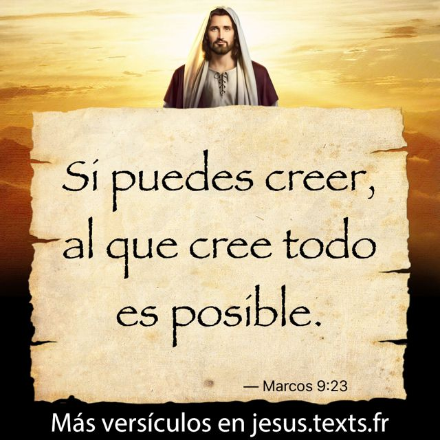 """""""Si puedes creer, al que cree todo es posible."""" — Marcos 9:23 https://txf.ro/m/jf214"""