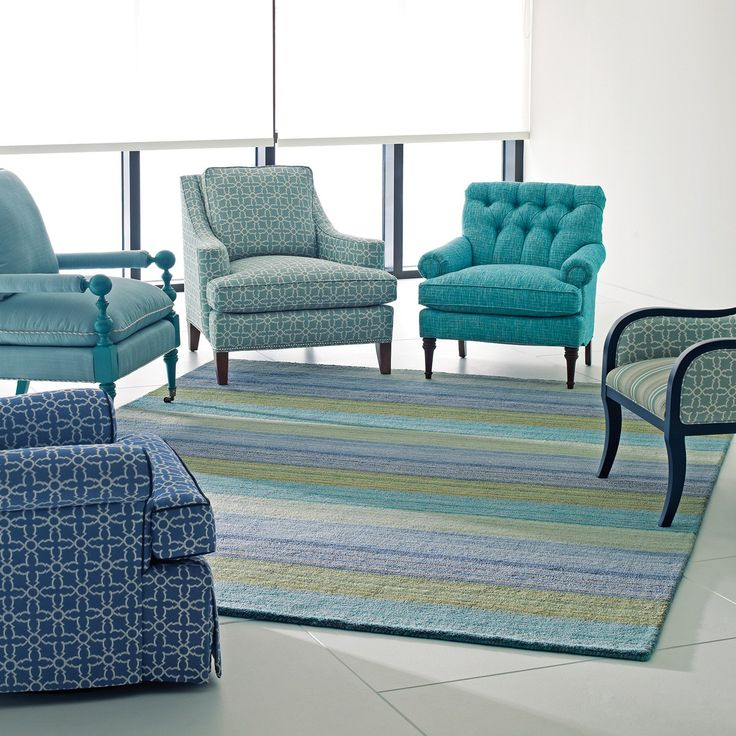 Company C Wool Rug Brushstroke Blue #laylagrayce #surya Totally in love with the colors in this pic, but the chair circle makes me think there is a support group meeting planned? Hmm.