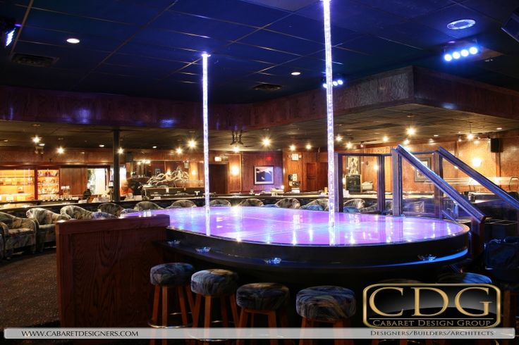 Custom #strip #club satellite #stage #design by Cabaret Design Group with hologr…