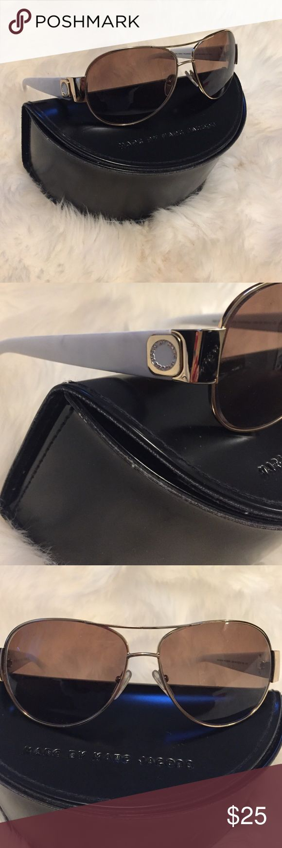 Marc Jacobs Rx Sunglasses White frame aviator. Great condition. Can easily swap lenses to non prescription Marc by Marc Jacobs Accessories Sunglasses