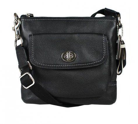Coach 49170 Natural Park Leather Black Swingpack Crossbody Bag