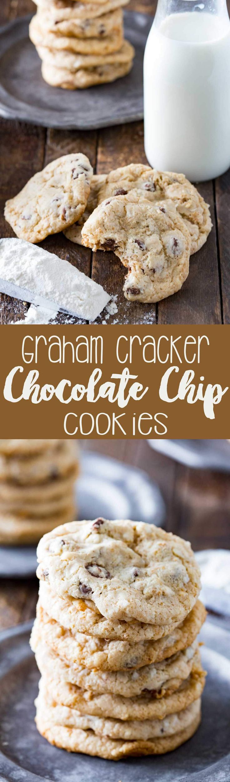 Easy, crispy outside, soft inside, these graham cracker chocolate chip cookies are the best