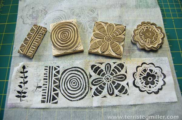 Terri Stegmiller Art Quilts: Carving  sellos hechos a mano, hand carved stamp