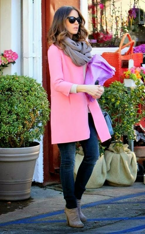 pink coat scarf denim pant with purse
