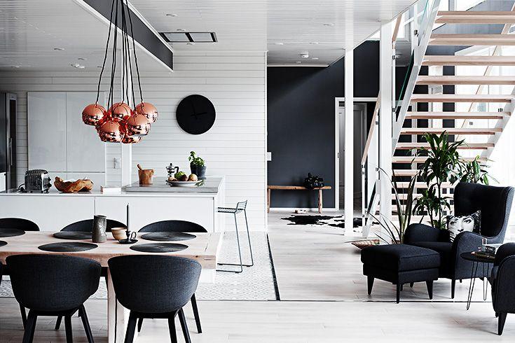 Décoration contemporaine en noir et blanc.