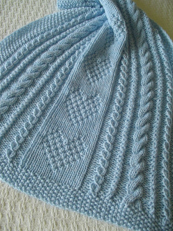Baby Blanket Blue Baby Blanket Hand Knit Baby Afghan Handmade Baby Blanket Hearts Cables Eyelet Pattern Baby Blanket Collectible (57.95 USD) by Ednascloset