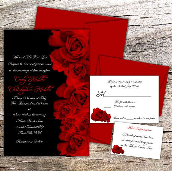 Red Rose Wedding Collection - Complete Set with 4x6 Invitation