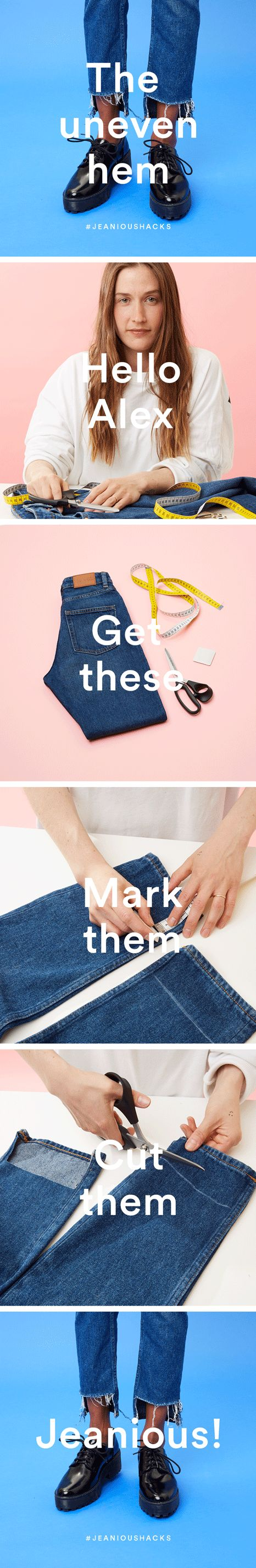 You will need: Sharp scissors  Tape measure or ruler  Chalk  Jeans Step 1: Mark…