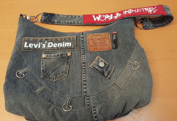 Shoulder bag crafted with a man's Levi's 506 Grey by DenimAgainJeans on Etsy
