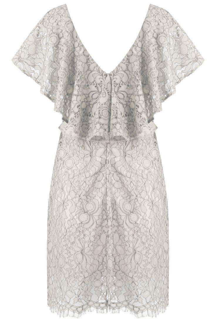 open back 60s styled frill φόρεμα δαντέλα
