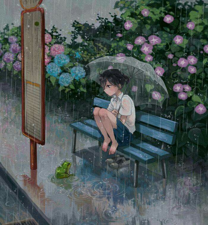 Anime girl in the rain