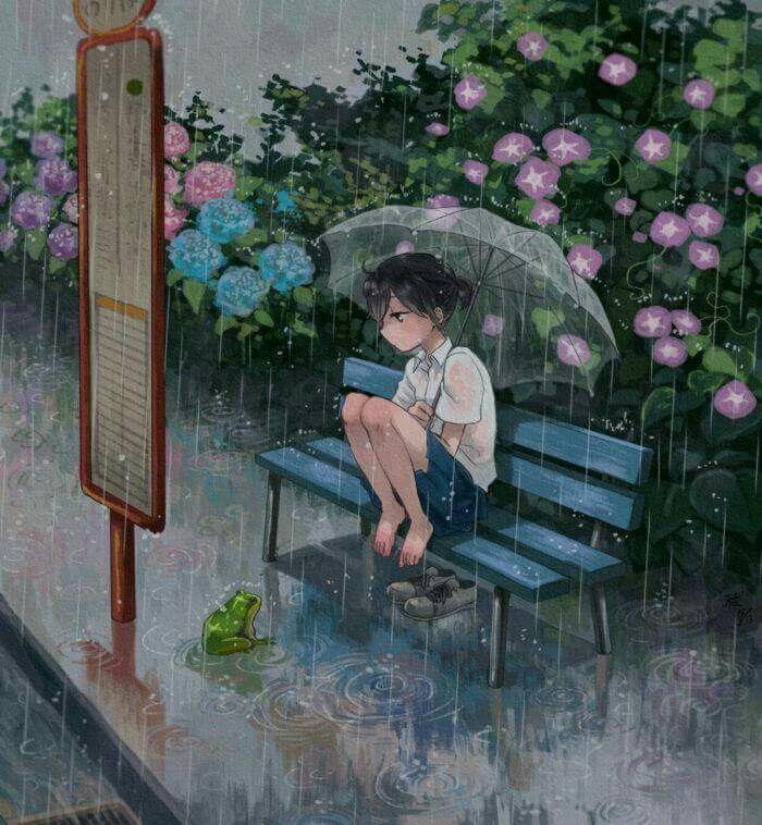 Anime girl in the rain