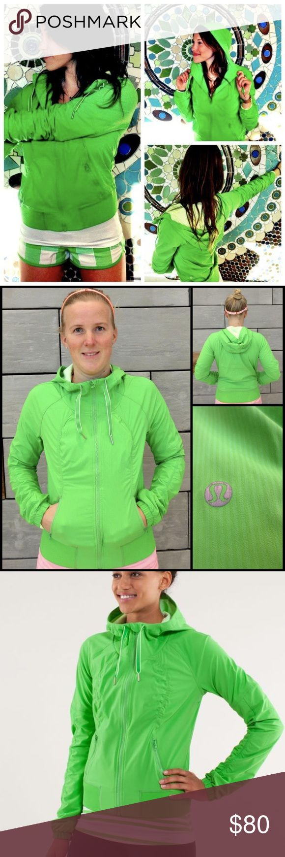 Lululemon Studio to Street Jacket Frond Green Lululemon Studio to Street Jacket Frond Green Hoodie Zip Coat Flux Define Sz 6  Life can move quickly and, when it does, we like to be prepared. We designed this jacket to have our back when we're racing between home, work and our practice. To protect us from Spring showers, we added an oversized hood and coated the Swift fabric with a DWR (Durable Water Repellant) finish. lululemon athletica Jackets & Coats
