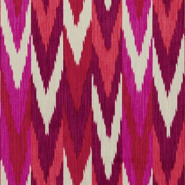 Kashgar Ikat | 176102 in Ruby & Plum | Schumacher Fabrics |  A beautifully printed ikat on luscious cotton velvet, the design nods to classic bargello patterns. Wonderfully suited for upholstery, curtains and pillows.