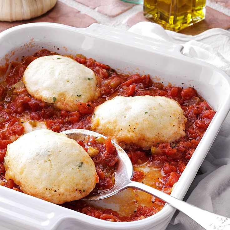 Tomato Dumplings Recipe -The wonderful fresh tomato taste of the sauce complements these light savory dumplings. They make a perfect side dish for a meal with beef. My family enjoys them very much. —Lucille Tucker, Clinton, Illinois