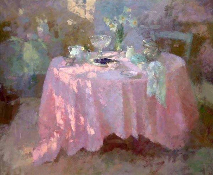 Жаклин Уильямс (British, 1962). Овальный стол. Холст, масло 51.2 × 89.5 см.
