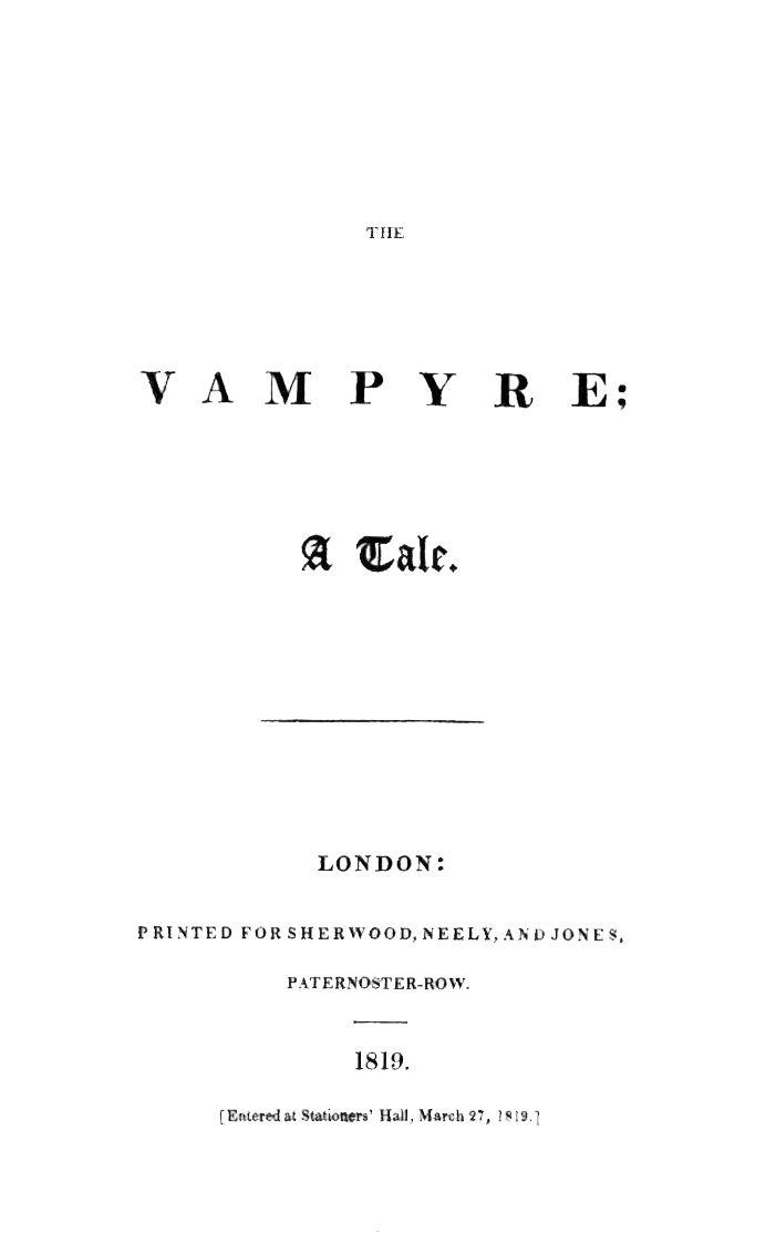 The Vampyre Wikipedia Vampire Vampire Fiction Ruthven