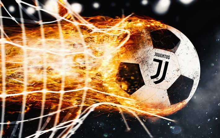 Download wallpapers Juventus, 4k, fire, new logo, flame, Juve, Serie A, art, new Juventus logo, ball, juve, soccer, Juve logo