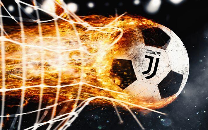 Descargar fondos de pantalla La Juventus, 4k, el fuego, el nuevo logotipo, la llama, la Juve, de la Serie a, el arte, el nuevo logotipo de la Juventus, bola, la juve, el fútbol, el logotipo de la Juve