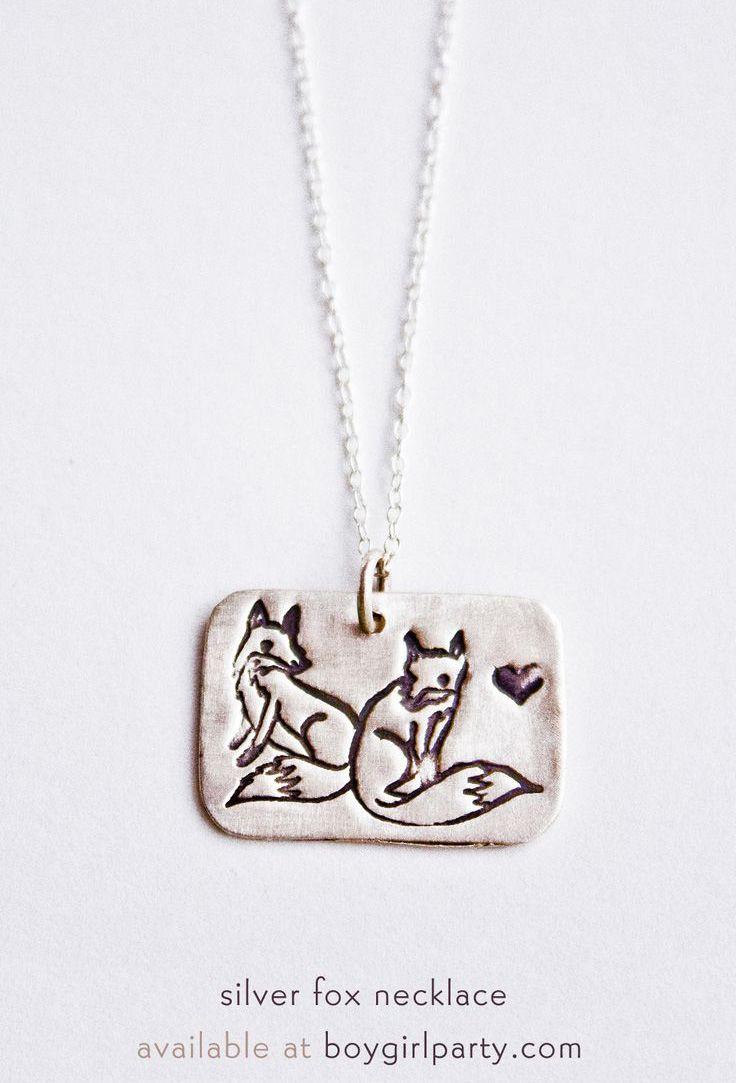 Fox Necklace - Silver Fox Pendant available at boygirlparty.com